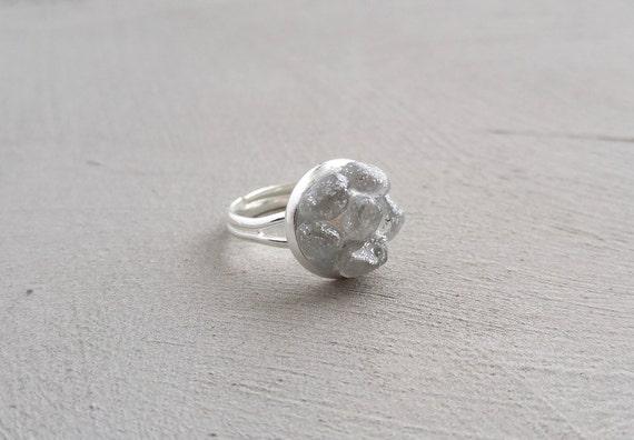 Ring - Light Gray Pebbles on Adjustable Silver Ring