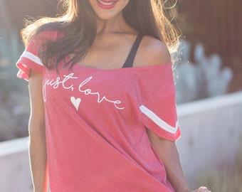 Just, Love.  Wide or Off the Shoulder Flutter Sleeved Sport Striped Tee. Made in the USA.  8 Colors to Choose From.