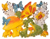 Butterfly and Mushroom 3 piece Wall Hanging 1973