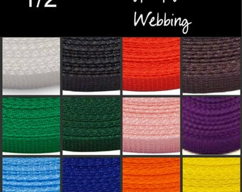 "5 Yards - 1/2"" - Polypropylene Webbing, Medium Weight, Strap, Your Choice of ONE Color"