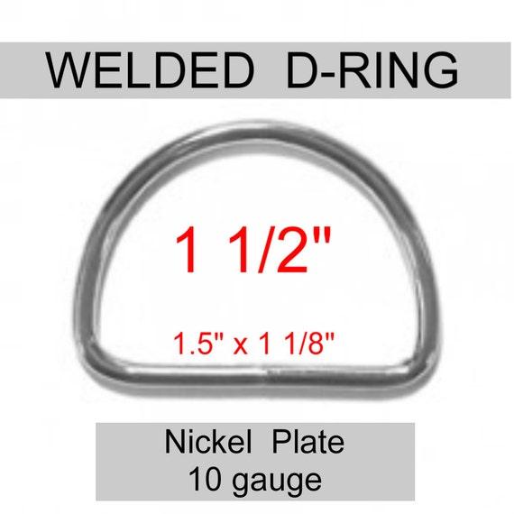 """20 PIECES - 1 1/2"""" - WELDED D Rings, 1 1/2 inch, Metal, 1.5, 38mm, 10 gauge - Nickel Plated Steel"""