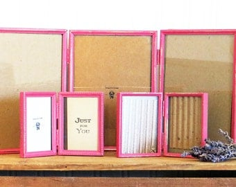 Pink Picture Frames Set Upcycled Vintage Chalk Paint Distressed