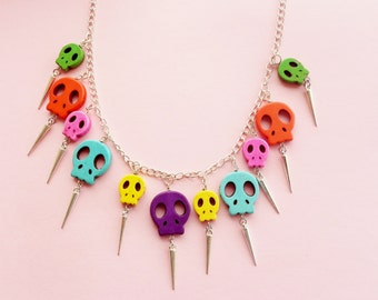 silver skull necklace - spike necklace - sugar skull necklace - rainbow necklace - day of the dead necklace - day of the dead jewelry