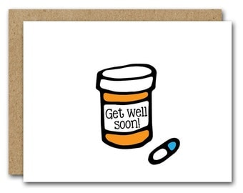 Get Well Soon Card, INSTANT DOWNLOAD, Feeling Under The Weather Card, Friend Get Well Card, Sympathy Card, Feel Better Card, Pills Card