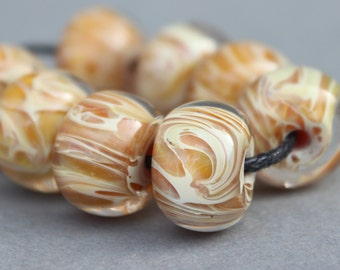 Handmade Boro Glass - Lampwork Beads - Tan and Caramel