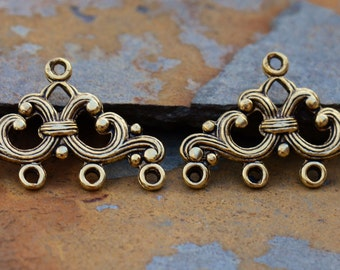 2 Nunn Design Antique Gold Filigree Strand Reducer 4 Loop, Connectors, Chandeliers, Low Shipping
