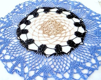 Medium Sized- Tan Blue Black Colored Round Hand Crocheted Doily 13 inches