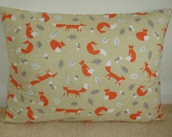 "20x26 Standard Pillow Cover Bolster Lumbar Oblong Sham 20"" x 26"" Cushion Case Slip Pillowcase Foxes And Acorns 26x20 Orange Grey Gray Fox"