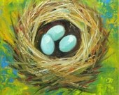 Nest painting 294 12x12 inch original bird nest portrait oil painting by Roz