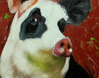 Pig painting 223 18x24 inch original oil painting by Roz