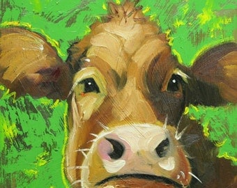 Cow painting 1073 12x12 inch original animal portrait oil painting by Roz