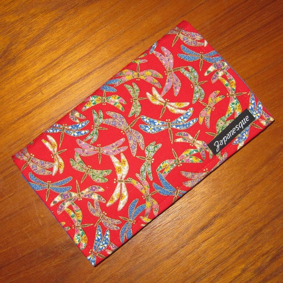Fabric Cheque Book Cover : Checkbook cover japanese asian fabric design dragonflies red
