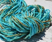 CORAL REEF Silk Cords Hand Dyed Hand Sewn Strings, Qty 1 to 25 Cords 2-3mm Jewelry Making Craft Cord, Aqua, Turquoise, Tan, Green, Brown