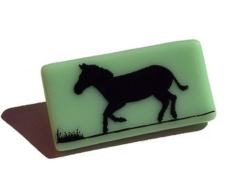 Glass Zebra Brooch Custom Enamel Colours Screen Printed Fired
