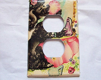 Poodle outlet switch plate retro 1950's vintage rockabilly kitsch light switch