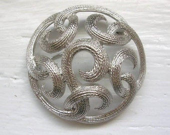Vintage Trifari Brooch Pin Signed Silver Knots Rope Style Round Brooch Estate Jewelry