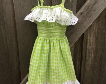 70s Gingham Sun Dress 4T