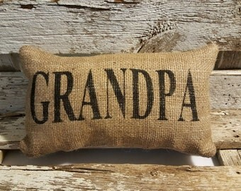 "Burlap Grandpa 11"" x 6"" Stuffed Pillow Father's Day Or Burlap Birthday Gift"
