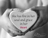 Grace in her heart, Gift for mom, gift for aunt, gift for daughter, grandma gift, Typography print, motivational print, black white art