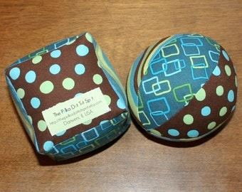 Baby Cloth Ball and Block Set in Pop Parade aqua brown green - Great gift for a baby shower or toddler gift