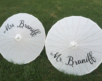Pair of Personalized Mr. and Mrs. Wedding Parasols in White, Photobooth Prop, Thank You, Bride and Groom, Mr. & Mrs. Monogram