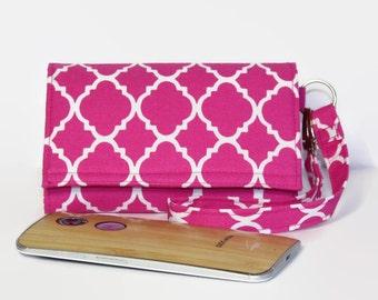 Cell Phone Wallet Wristlet, Crossbody Ready, Fits Most Smartphones, iPhone 6 6x Plus Wallet, Galaxy Nexus LG Moto X Pure / Pink Lattice