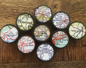Personalized Vintage Map Oil-Rubbed Bronze Drawer Pull Cabinet Knob Handle - You Pick City - Customized Map DIY Remodel