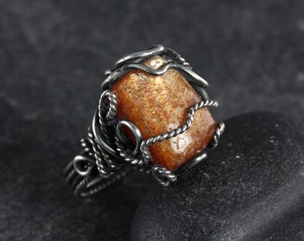 Sunstone Rectangular Wrapped Ring