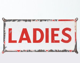 Vintage Ladies Sign, Enamel Porcelain Sign, Red and White