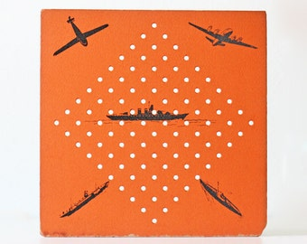 Vintage Orange Game Board, Planes and Boats