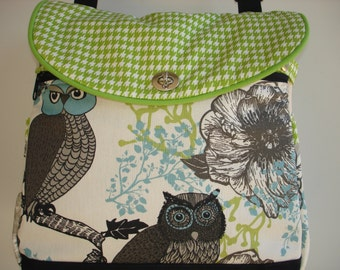 Expandable Tote Bag/Book Bag/Project Tote-NIGHT OWLS