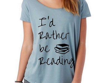 CLEARANCE I'd Rather Be Reading Slouchy Origin Cotton Modal shirt Alternative Apparel