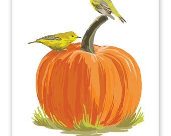 """Yellow Warblers on Pumpkin  8"""" x 10"""" Art Reproduction"""