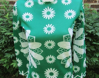 Vintage Green and White Flower Power Long Sleeve Polyester Shirt by Miss Holly size small