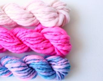 weaving creative yarn bundle, hand spun, hand dyed yarn, handspun art yarn, yarn set ... cotton candy