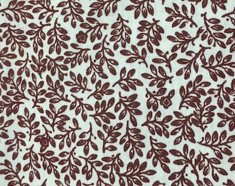 Brown leaves on white fabric - 1 yard