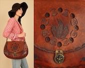 ViNtAgE HUGE Hand Tooled Purse 60's 70's BUTTERFLIES Handbag Floral LEATHER // Artisan Flowers // Fall Brown Hobo Hippie BoHo