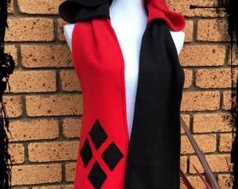 Harley Quinn Inspired Hoodie Scarf, One Size - Ready to Ship -  DC Comics Winter Joker Batman Costume Cosplay Geek Plus Size