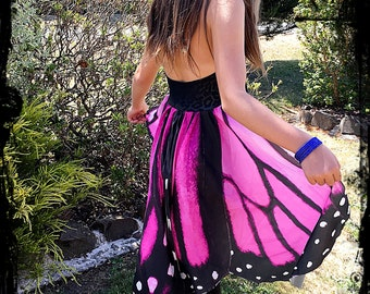 Girls Pink and Black Butterfly Wings Top Dress Size 10 to 12 - Ready to Ship - Dance Troupe Circus Costume Ballet Party Hippie