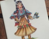 Vintage Dolls of Many Lands Card - Native American Doll - Blank Inside - Unused