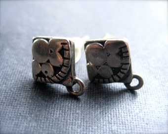 Earring Posts - sterling silver - with attached jumpring