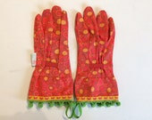 Designer Garden Gloves - As seen in Better Homes and Gardens DIY Magazine and Mother Earth Living Magazine - Butterfly, Pom Poms