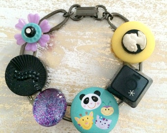 Whimsical Vintage Junk Bracelet - OOAK - upcycled recycled bits and baubles - buttons, cameo, keyboard button, panda, glitter - Mini Collage