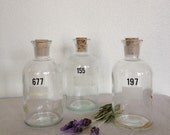 Vintage Apothecary Bottles, Collection of 3 Numbered Apothecary Bottles