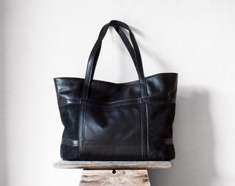 SALE Leather Tote Bag in Black / Leather Tote / Shoulder Bag / Black Leather Bag / Leather Bag /  Leather Shopper / Leather Handbag/