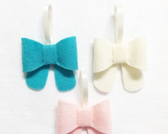 Bow Ornament, Ornament Set - Frosty Petals - Christmas Ornament, Cream Blush Pink Teal