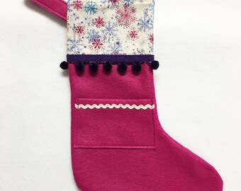 Felt Stocking, Pocket Stocking, Pocket Peeper - Silent Night, Magenta Stocking