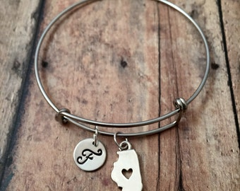 Illinois initial bangle - Illinois jewelry, state jewelry, US state bracelet, state of Illinois bracelet, silver Illinois bangle