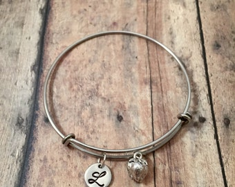 Strawberry initial bangle- strawberry jewelry, fruit jewelry, berry jewelry, strawberry bracelet, fruit bangle, fruit bracelet