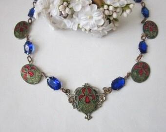 Vintage Deco Crystal and Enamel Necklace